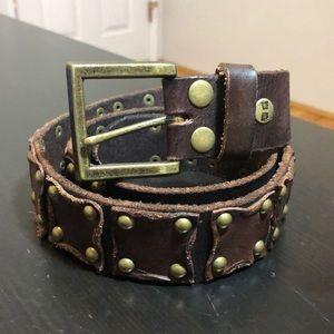 BED STU New Men's Studded Brown Leather Belt sz 36